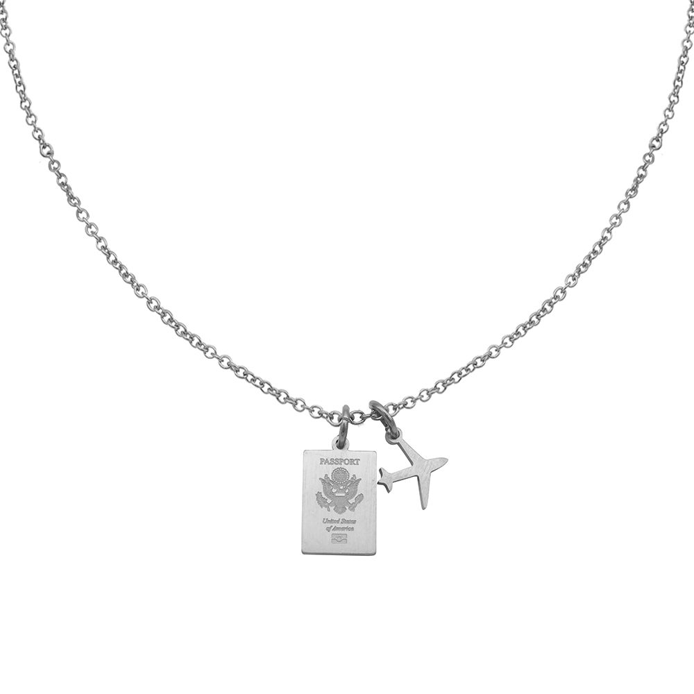 Usa Passport Travel Necklace Silver